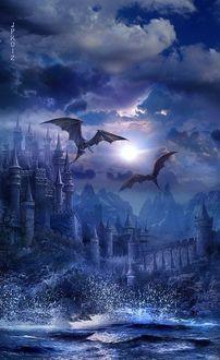 Фото Драконы летят над средневековым городом, by Jpiko12