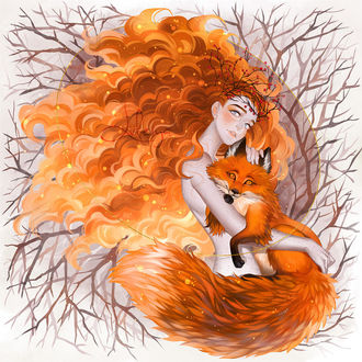 Фото Рыжеволосая девушка с лисой, by luleiya