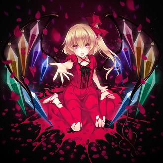 Фото Фландре Скарлет / Flandre Scarlet сидит в луже крови, вытянув вперед руку, из игры Touhou Project / Проект Восток / Тохо, by Ayase Hazuki