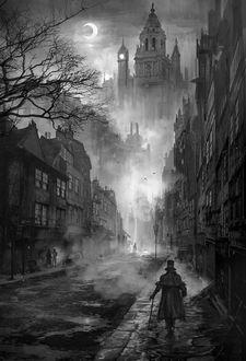 Фото Мужчина в котелке идет по туманной улочке, впереди из ночи выступает старинный замок, в небе сквозь тучи пробивается серп месяца