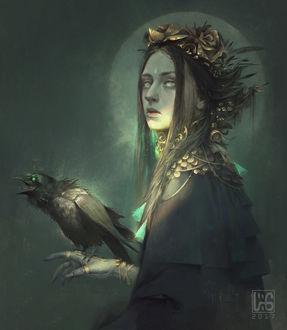 Фото Девушка в венке из золотых роз, на руке которой сидит ворон, by vuogle