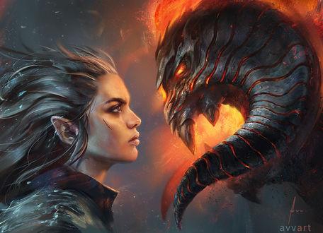 Фото Эльфийка и огненный монстр, by avvart