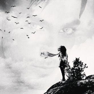 Фото Девушка стоит на берегу неба, в котором отражается лицо мужчины на фоне летящих птиц