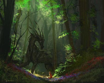 Фото Лисица смотрит на лесного дракона, by Sharaiza