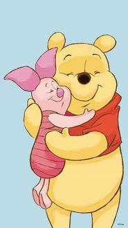 Фото Winnie-the-Pooh / Винни-Пух и Piglet / Пятачок обнимаются, персонажи мультфильма The New Adventures of Winnie the Pooh / Новые приключения Винни-Пуха