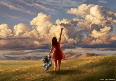 Фото Девочка с плюшевым медвежонком стоит в поле и протягивает руку к небу, by afurin