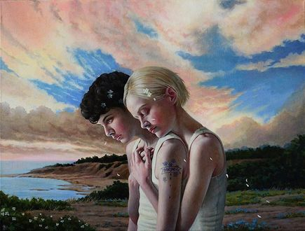 Фото Девушка обнимает парня, художница Яна Брике