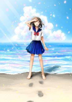 Фото Школьница на морском берегу