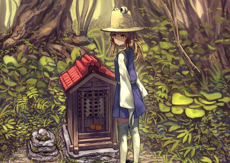 Фото Сувако Мория / Suwako Moriya стоит перед маленьким храмом в лесу из игры Проект Восток / Touhou Project, art by Pyonta