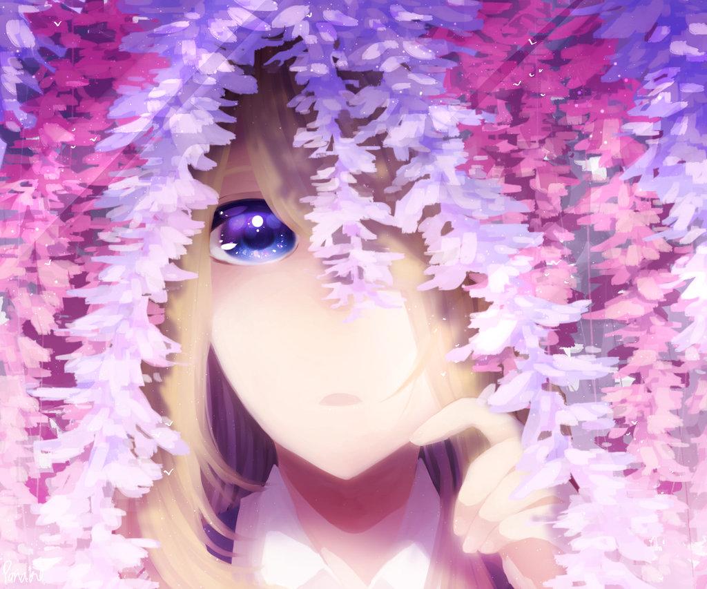 Фото Голубоглазая девушка стоит среди цветов глицинии, by Panako