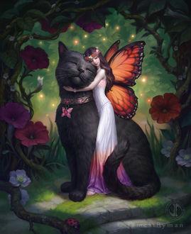 Фото Фея обнимает черную кошку, by namesjames