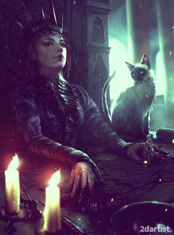 Фото Королева, сидящая на троне, держит в окровавленной руке фигурку рыцаря, рядом сидит кошка, by WojtekFus