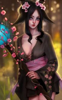 Фото Темноволосая девушка с ушками укрощена с цветками сакуры, by NNCOMICS