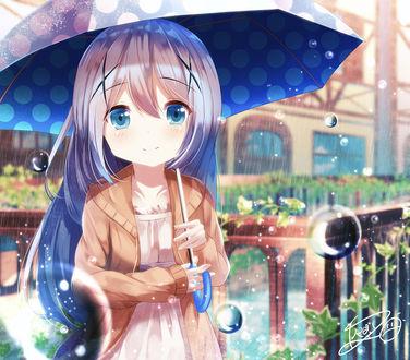 Фото Чино Кафу / Chino Kafuu из аниме Заказывали кролика? / Gochuumon wa Usagi Desu ka? с зонтиком стоит под дождем