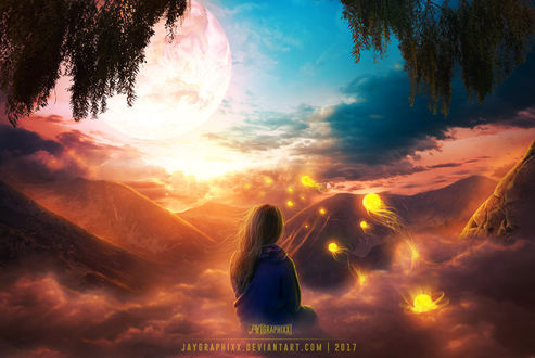 Фото Девушка сидит в облаках, наблюдая за светящимися золотистыми медузами, плывущими над горами к луне, by JayGraphixx