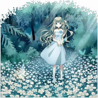 Фото Девушка в голубом платье стоит на поляне цветов