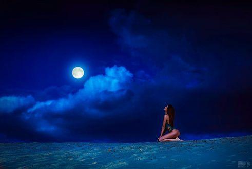 Фото Девушка в купальнике сидит на земле и смотрит на луну, фотограф Светлана Беляева