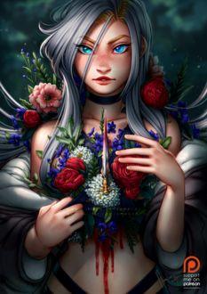 Фото Голубоглазая девушка украшена цветами и маленьким кинжалом, by Amelion