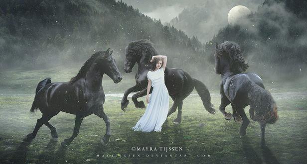 Фото Девушка в белом платье в окружении лошадей, by MayTijssen