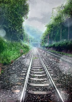 Фото Железная дорога во время дождя
