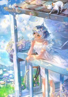 Фото Девушка в белом платье с голубыми волосами стоит на балконе и пускает мыльные пузыри, на крыше за ними наблюдает кошка, by Marmaladica