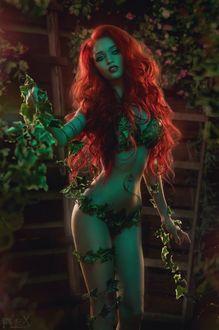 Фото Рыжеволосая девушка, обмотанная плющом / Косплей на Ядовитый Плющ / Poison Ivy - суперзлодейку вселенной DC Comics, модель - Alyona MUA