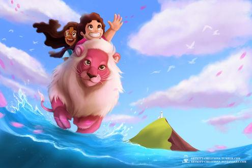 Фото Конни Махишваран / Connie Maheswaran и Стивен Юниверс / Steven Universe сидят на розовом льве бегущий по океану на фоне неба и облаков, by ArtKitt-Creations