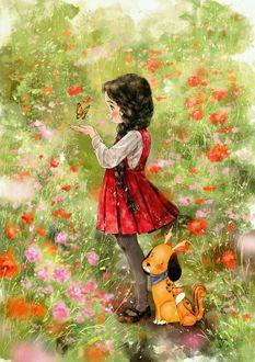 Фото Девочка с бабочкой над рукой и щенок сидит у ее ног