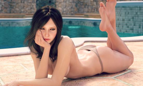 Фото Девушка в купальнике лежит у бассейна, by haneto