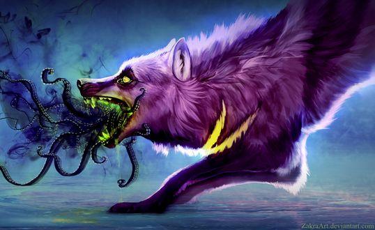 Фото Из пасти волка вырываются темные щупальца, работа The dead is inside / Мертвые внутри, by ZakraArt
