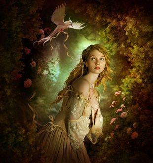 Фото Девушка, скрестив руки на груди, смотрит на парящую над ней птицу с лентой в лапках, средь розовых кустов