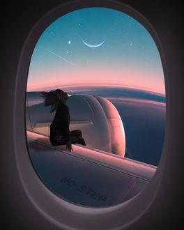 Фото Девушка за окном иллюминатора самолета на фоне неба звезд и облаков, by Fеlix Bossе