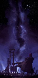 Фото Джин Старвинд / Gene Starwind из аниме Звездные рыцари со звезды изгоев / Seihou Bukyou Outlaw Star в развевающемся плаще стоит на фоне космической станции, by AuroraLion