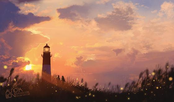 Фото Пара стоит в высокой траве у маяка, на фоне облачного неба, в лучах заходящего солнца, by AuroraLion