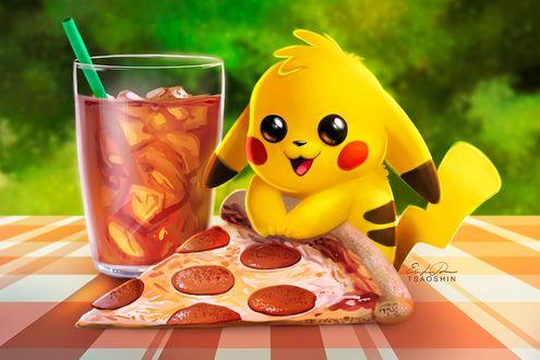 Фото Pikachu / Пикачу из аниме Pokemon / Покемон, с кусочком пиццы в лапках сидит возле холодного напитка, by TsaoShin
