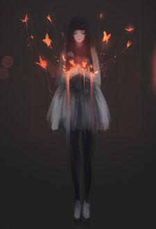 Фото Девушка с огненными бабочками, by Aoi Ogata