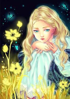 Фото Мarnie / Марни из аниме Вспоминая Марни / Omoide no Marnie с грустным взглядом сидит положив голову на руки среди светящихся желтых цветов, над которым порхают светящиеся голубые бабочки, в ночи, by MyzuCass
