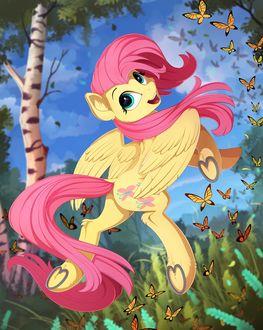 Фото Флаттершай / Fluttershy из мультсериала Мои маленькие пони: Дружба — это чудо / My Little Pony: Friendship Is Magic в окружении бабочек, by Yakovlev-vad