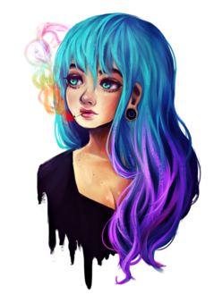 Фото Голубоглазая девушка с голубыми волосами, с сигаретой во рту, by Nasuki100