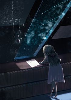 Фото Девочка пишет что-то возле окна с видом на космос