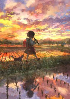 Фото Девочка с флейтой в руках и рюкзаком за спиной шагает по траве меж залитых дождем грядок, под облачным небом в красках заката, за ней идет кошка