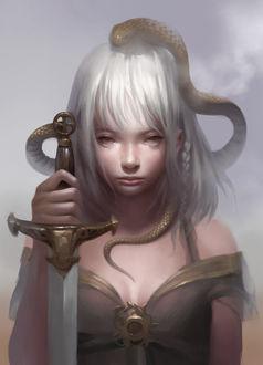 Фото Девушка с мечом в руке и змеей на голове