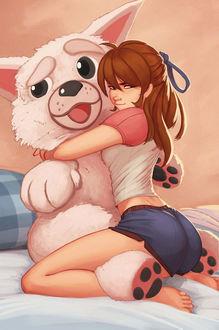 Фото Девушка обнимает свою игрушечную собаку, by Raichiyo33