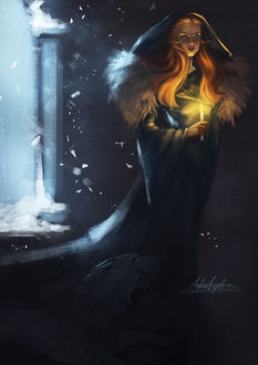 Фото Sansa Stark of Winterfell / Санса Старк из Винтерфелла со свечой в руке, арт по мотивам серии книг Песнь Льда и Огня / A Song of Ice and Fire и сериала Игра престолов / Game of Thrones, by AngieParadiseeker