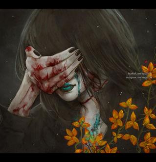Фото Девушка закрывает лицо окровавленной рукой, by NanFe