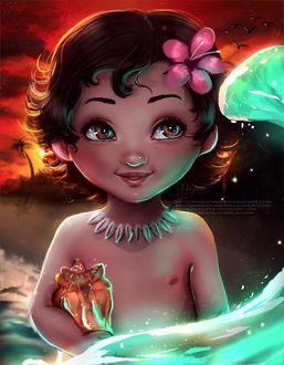 Фото Маленькая Моана Ваялики / Moana Waialiki с цветком на волосах из мультфильма Моана / Moana, by magato98
