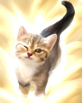 Фото Рисованный котенок прикрыл один глаз