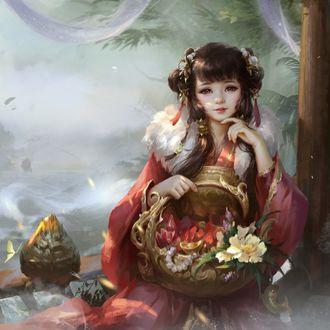 Фото Девушка с корзиной цветов в руке