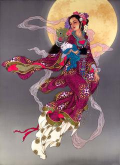 Фото Девушка азиатской внешности, в национальном наряде, держит кролика на руках, by Caroline Young
