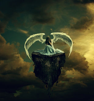 Фото Плачущий ангел на скале в небе, автор Krevs